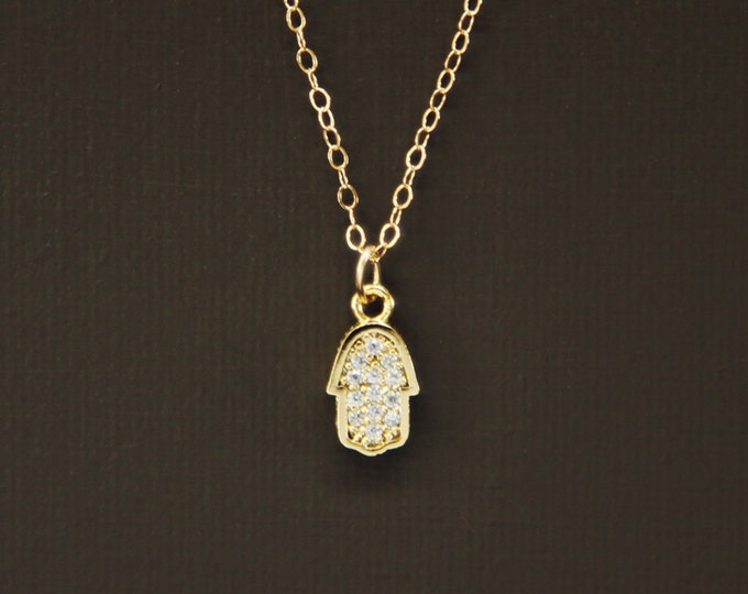 Tiny Sparkling Pave Hamsa Necklace