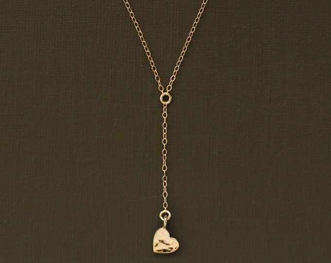 Delicate Rosary Necklace with Hammered Heart Charm