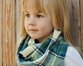 Blue & Green Flannel Infinity Scarf - Toddler Size
