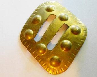Vintage Brass Buckle Asymmetrical slip 1970s belt buckle or scarf clip Free USA Shipping