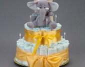Windeltorte mit Elefant in grün, gelb, blau oder rosa mit Babyartikeln