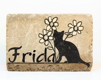 PERSONALIZED Pet Memorial Stone. 6x9 Burial Marker. Tumbled (Concrete) Paver Stone. Indoor/ Outdoor Cat Memorial. Custom Cat Sympathy Gift.