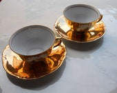 GOLD ON WHITE 2 Vintage Coffe Cup and Saucer - Collectable Bavaria -  Germany