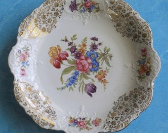 Vintage  Plate Germany Bavaria Flowers - White and gold