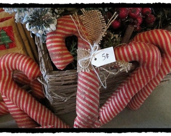 Candy Cane Ornament Primitive Burlap Wrapped Cabin Decor Winter christmas decor Tagged 5 cents canes