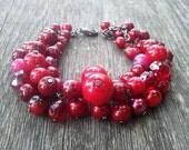 Red pinky sweet cherries on black wire