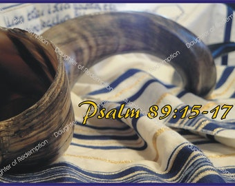 Messianic Hebraic  Hebrew Card -  Shofar and Scripture