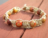 Earthy Beaded Hemp Bracelet in Natural or Brown - VanDeurDesigns