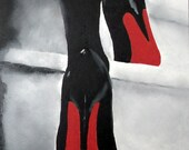 "Art Print of CHRISTIAN LOUBOUTIN Womens Black Shoes Oil Painting 6 x 4 ""  High Heels - SubjectArt"