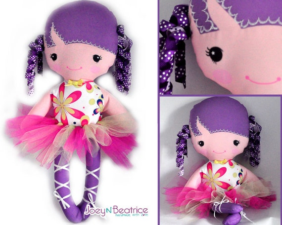 Violet The Berry Fairy Doll - Handmade-Purple Doll- Tutu doll