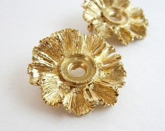 2 Gold Brooch Pins - Vintage Jewelry Supplies Cabochon Settings - Gold Flower Brooch - Baroque Jewelry Hollywood Regency - Friendship Gifts