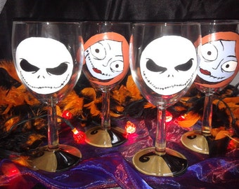Nightmare Before Christmas, Jack and Sally Detail Wine Glasses