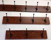 "Custom Mission Quartersawn Oak Coat Rack 24""  with cast iron hooks"
