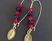 Earring, Red and  Blue Crystal Beads, Arizona Football Colors, Silver Plated Kidney Shaped Earrings with silver football charm