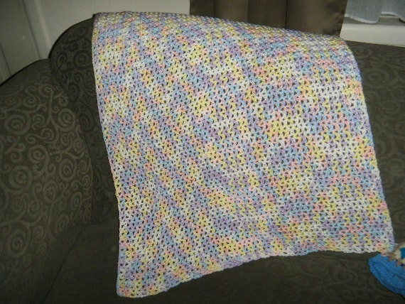 Soft Baby Afghan Handmade by Grandma Beautiful Pastel Colors