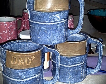 Handmade denim coffee mugs