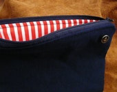 handsewed midsize purse for knick-knacks, your smartphone and a book, with anchor button: navy blue / red-white-striped