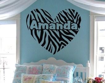 "Zebra Stripe Heart w/ custom text Vinyl Wall Decal Sticker Art 26"" X 22"""