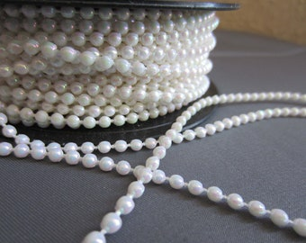 Pearl Trim - 3mm Iridescent white - Cut to Length LOT001