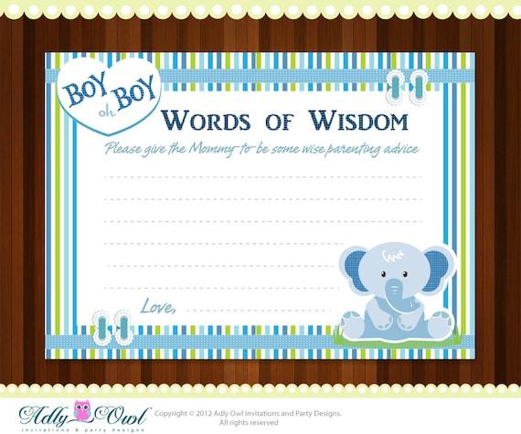 items similar to boy elephant word of wisdom baby shower advice card