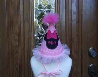 Girls First Birthday Party Hat - Minnie  Mouse Birthday Theme