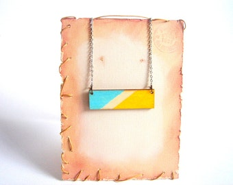 Geometric Necklace, Wood Neon Necklace,Geometric Jewelry