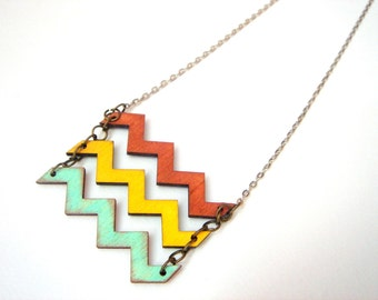 Chevron Necklace, Wood Chevron Necklace,Zig Zag Necklace,Geometric Jewelry
