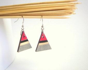 tribal Triangles  Earrings , Wood Triangles Earrings,Geometric Jewelry