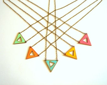 Geometric Neon Necklace, Wood Triangles Necklace,Hand Painted Wood  Necklace,Geometric Jewelry