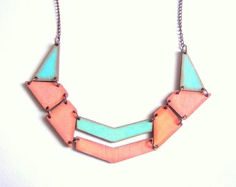 Pastel Geometric Necklace, Wood Triangles Bib,Wood Tribal Necklace,Geometric Jewelry