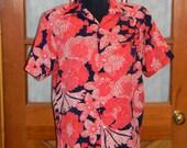 Tori Richard Honolulu Vintage Hawaiian Shirt Party Red Hawaiian Oahu Mens Size M