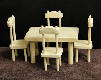 Square Table and Chair Set for 12 inch/Barbie dolls (052)