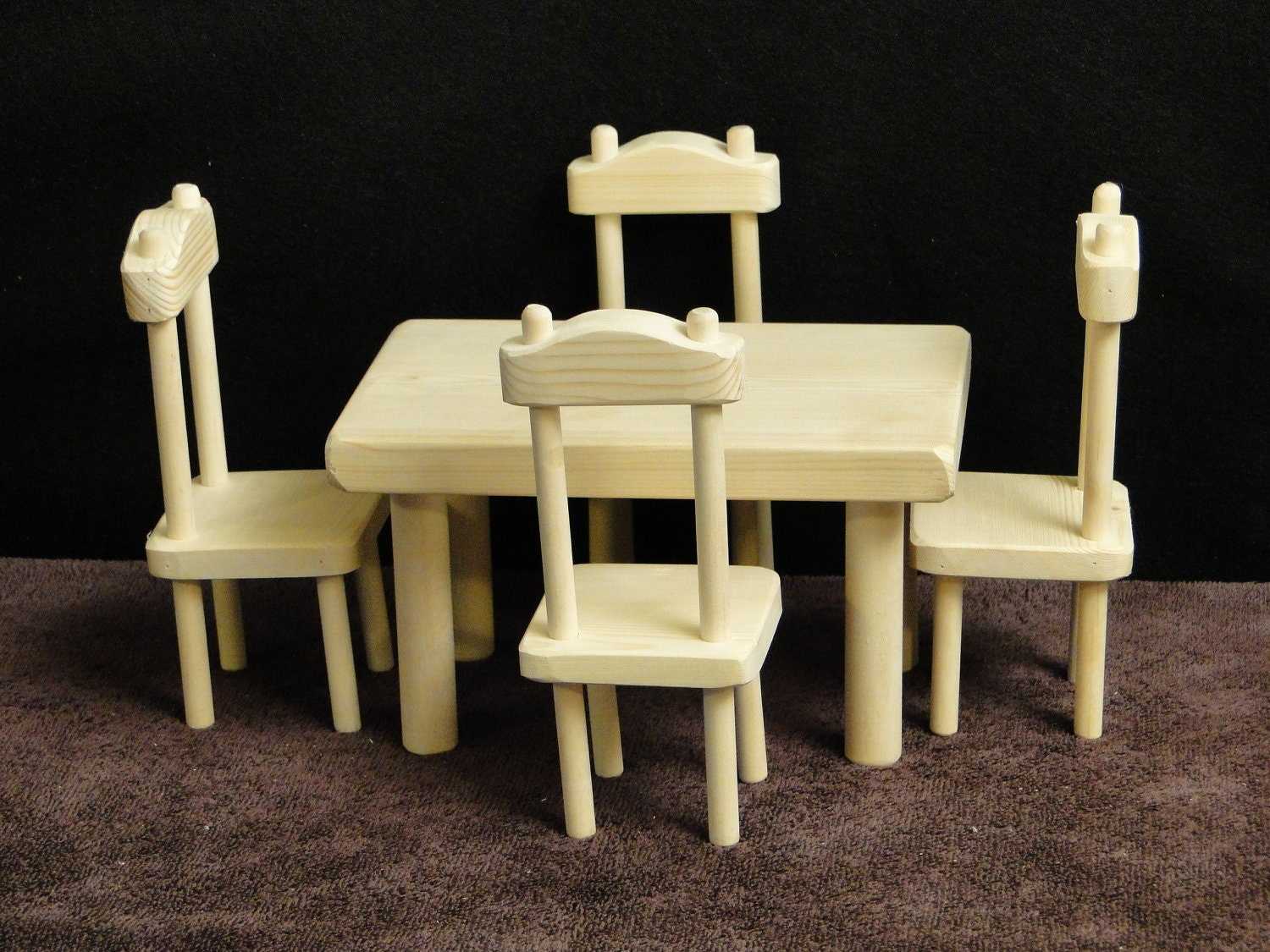 Square table and chair set for 12 inch barbie dolls 052 for 12 inch square table