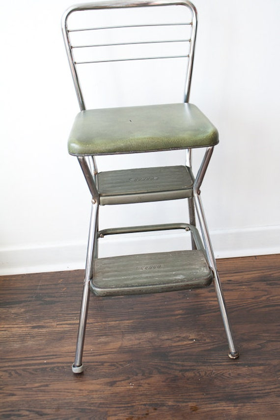 Vintage Cosco Kitchen Chair Step Stool Green