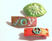 Hippy Style Bitsy Barrettes, 3 Polymer Clay Barrettes, Sun-Kissed, Peace Sign, Boho Barrettes