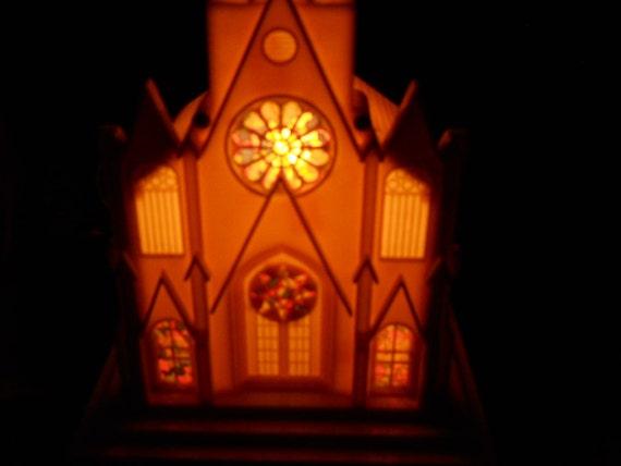 VINTAGE Raylight Electric Corp Christmas Church, Steeple MUSIC,  Box Silent Night