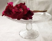 "Enchanting Vintage Glass Cake Stand 9"" 23cm"