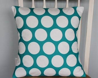 Turquoise Polka Dot Decorative Throw Pillow  - Pillow Cover - Printed Fabric Front and Back - Accent Pillow