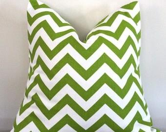 Lime Green Chartreuse Chevron Pillow.16x16 inch.Decorator Pillow Cover.Chartreuse.Bright Green ZigZag.Chevron
