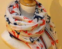 Sale Anchor Scarf Classic Anchor Scarf Red Anchor Navy Blue Anchor Scarf Christmas Gift Anchor Lover Sailing Scarf Sailing Anchors