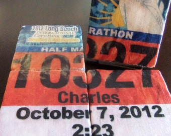 Personalized Race Bib Coasters/Tiles - Set of 4. Tumbled Marble 4in. x 4in. - Running Gift - Perfect for Runners