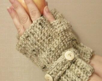 Fingerless Gloves Wrist Warmers Fingerless Mittens Wood Tree Buttons Mitts