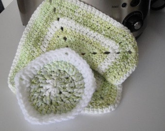 Crochet Dishcloth w/Scrubbie Set