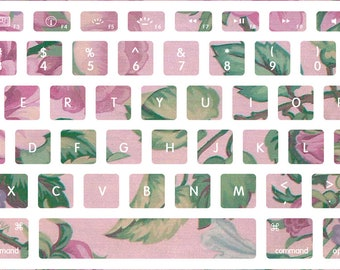 Pink and Green Flower Pattern Macbook Keyboard Decal Stickers