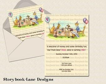 Classic Pooh Birthday Invitation-(SL1)