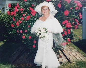 Vintage Wedding Dress Three Rows of Chiffon Graduated Hem Off Shoulder Designer Jovani