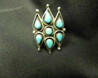 Vintage Ring Native American Indian Tear Drops Design  With Turquoise Settings Sz. 6 1/2