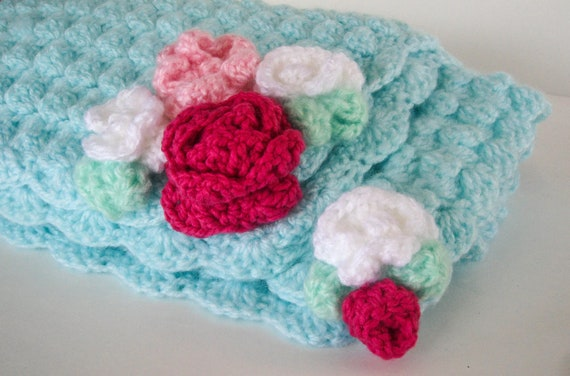 Baby Crochet Blanket Flower Pink And Aqua Baby Blanket