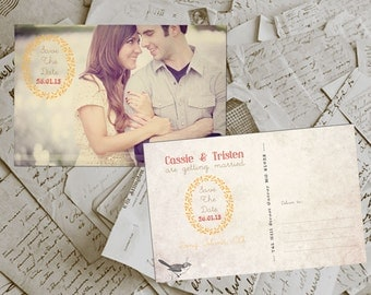 "Wedding Save The Date Card - BremPark Vintage Photo Personalized 4""x6"""