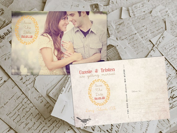 """Wedding Save The Date Card - BremPark Vintage Photo Personalized 4""""x6"""""""